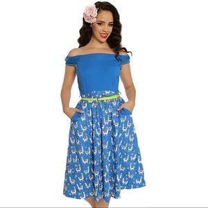 LINDY BOP Blue Lama Print Carla Dress